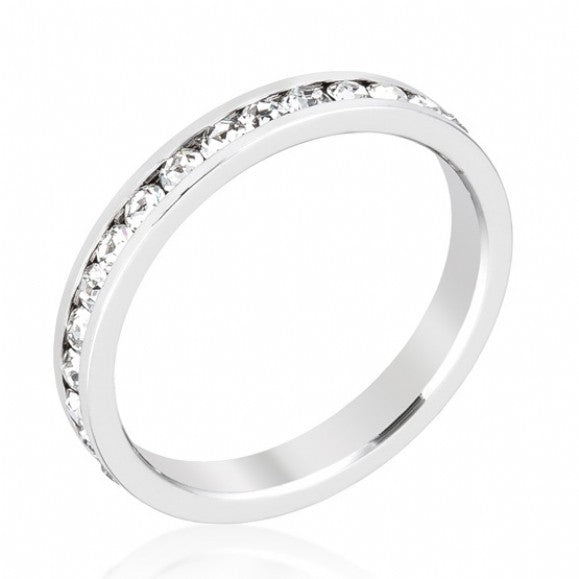 Womens None Silver Clear CZ Stackable Eternity Band