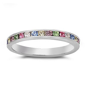 Womens None Sterling Silver Multicolor CZ Stackable Eternity Band