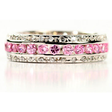 Womens None Sterling Silver Pink & Diamond CZ Dream Ring