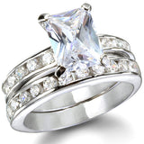 Womens None The Princess Sterling Silver CZ Engagement Ring Set