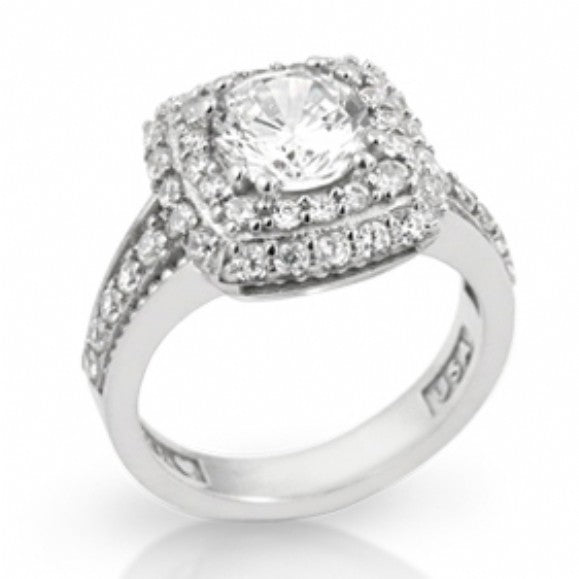 Womens None Tinsley's Luxurious Square Shape Round CZ Engagement Ring