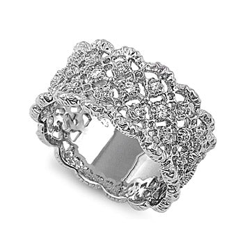 Womens None Whitney's Intricate Lace Design Silver CZ Ring