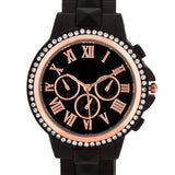 Ava Rose Gold Black Metal Watch With Crystals