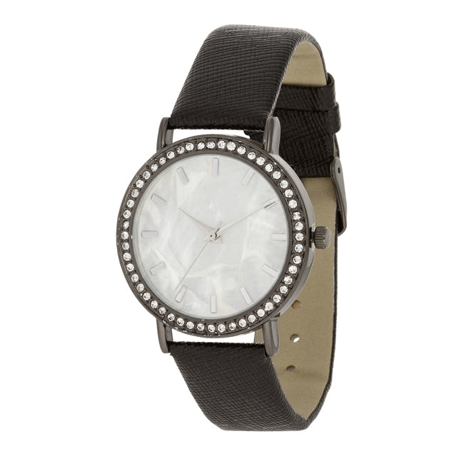 Black Leather Watch With Crystals