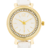 Georgia Gold Crystal Watch With White Leather Strap