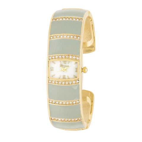 Gold Cuff Watch With Crystals - Grey