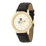 Gold Snowman Crystal Watch With Black Leather Strap