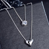CZ Stone and Heart Double Layer Necklace