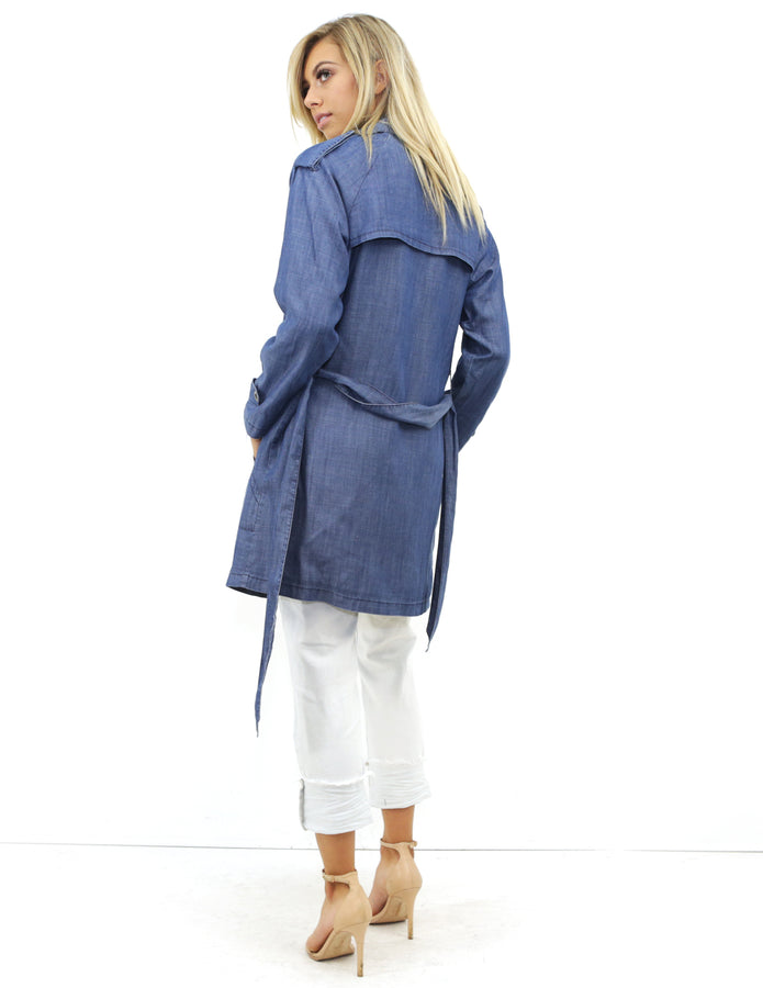 West Coast Wardrobe City Escape Trench Coast in Denim - Denim