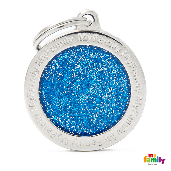 My Family Big Circle Glitter Pet ID Tag | Pisces Pets