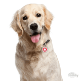 My Family Red Circle with White Snowflake Pet ID Tag | Pisces Pets
