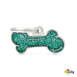 My Family Small Bone Glitter Pet ID Tag | Pisces Pets