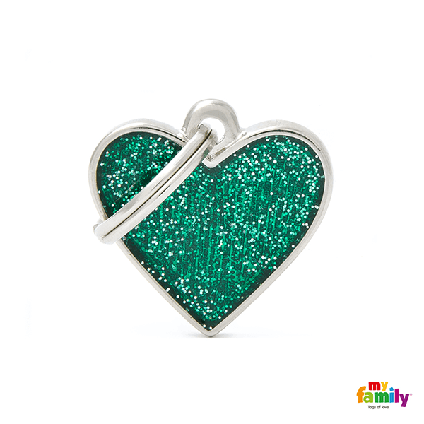 My Family Heart Glitter Pet ID Tag | Pisces Pets