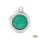My Family Small Circle Glitter Pet ID Tag | Pisces Pets