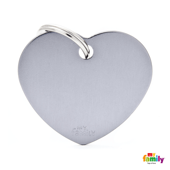 My Family Big Heart Aluminum Pet ID Tag | Pisces Pets