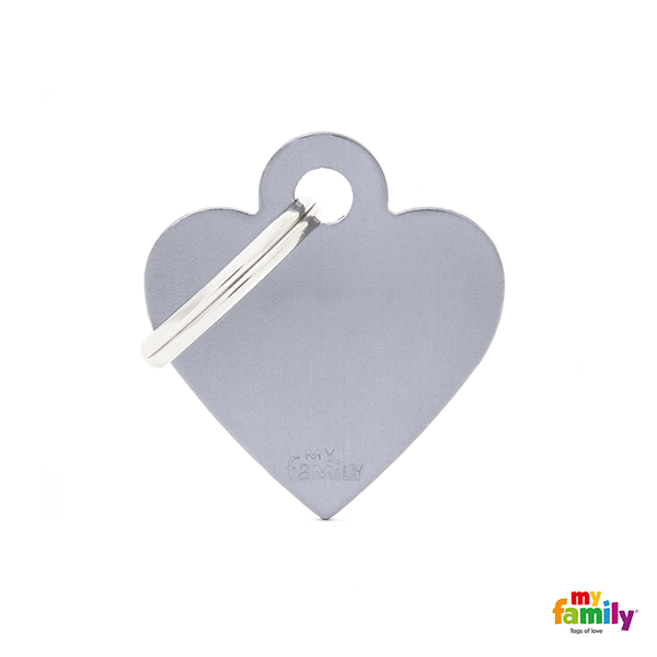 My Family Small Heart Aluminum Pet ID Tag | Pisces Pets
