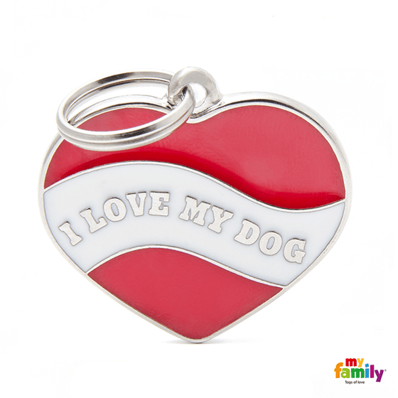My Family I Love My Dog Heart Pet ID Tag | Pisces Pets