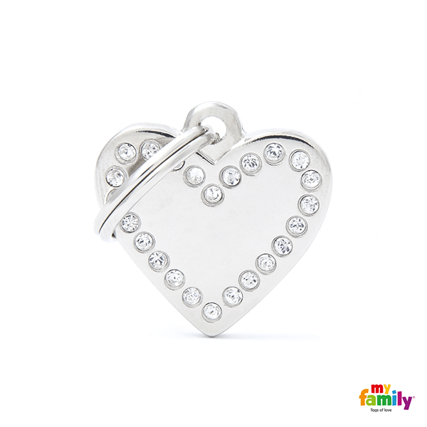 My Family Silver Heart Pet ID Tag | Pisces Pets