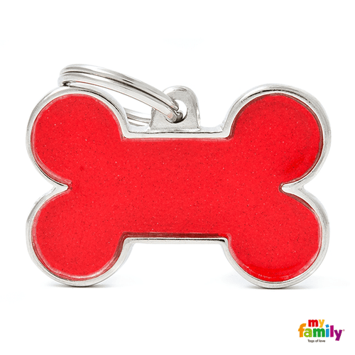 My Family Big Bone Reflective Pet ID Tag | Pisces Pets
