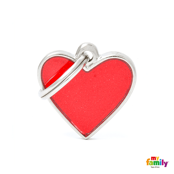 My Family Small Heart Reflective Pet ID Tag | Pisces Pets