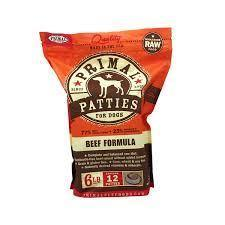 Primal Frozen Raw Patties Beef Formula 2.72kg