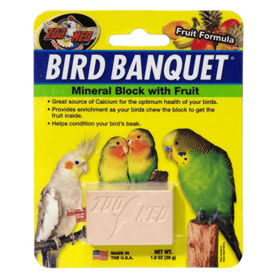Zoo Med Bird Banquet Mineral Block with Fruit Formula - Small | Pisces Pets