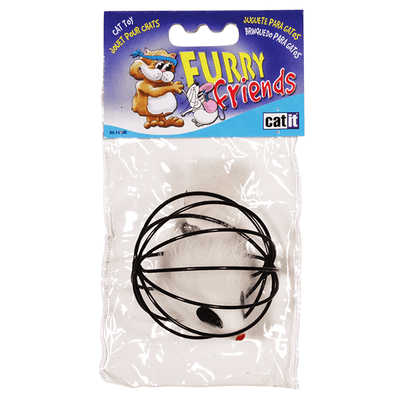 Catit Furry Friends Cat Toy - Wire Ball with Fur Mouse | Pisces Pets