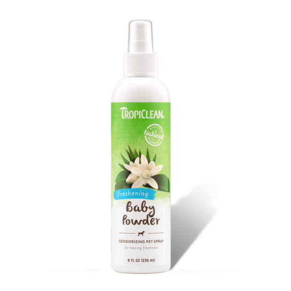 TropiClean Deodorizing Baby Powder Pet Spray | Pisces Pets