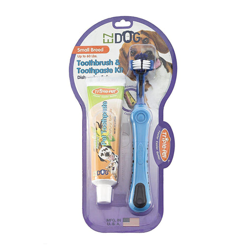 Triple Pet EZ Dog Toothbrush & Toothpaste Kit Small Breed | Pisces Pets