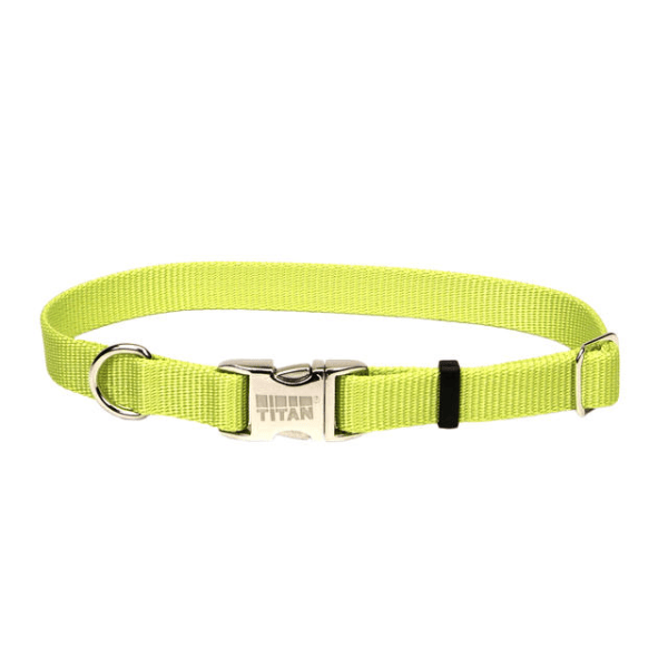 Coastal Pet Lime Adjustable Collar with Titan Buckle - Available in 3 Sizes | Pisces Pets
