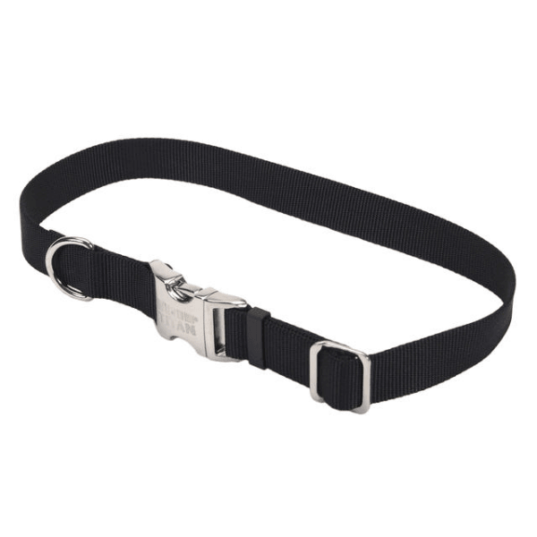 Coastal Pet Black Adjustable Collar with Titan Buckle - Available in 3 Sizes | Pisces Pets