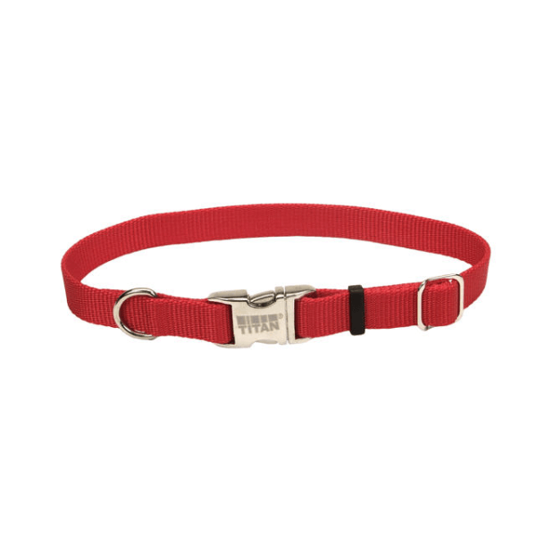 Coastal Pet Red Adjustable Collar with Titan Buckle - Available in 3 Sizes | Pisces Pets