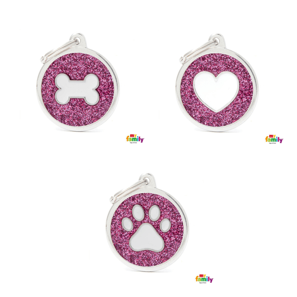 My Family Big Circle Pink Glitter Pet ID Tag | Pisces Pets