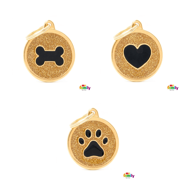 My Family Big Circle Gold Glitter Pet ID Tag | Pisces Pets