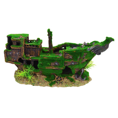 Underwater Treasures Mossy Shipwreck | Pisces Pets