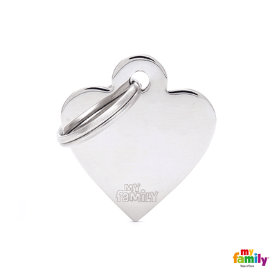 My Family Chrome Heart Pet ID Tag | Pisces Pets
