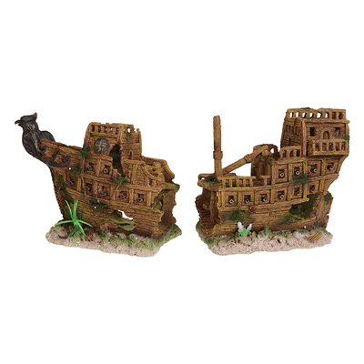 Underwater Treasures Medieval Battleship - 2 Pieces | Pisces Pets