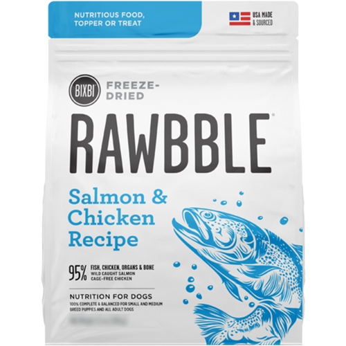 Bixbi Rawbble Freeze Dried Food Salmon & Chicken Recipe - 340g | Pisces Pets