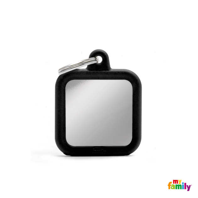 MYFAMILY ID TAG - HUSHTAG COLLECTION - CHROMED SQUARE WITH BLACK RUBBER