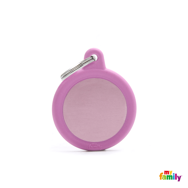 MYFAMILY ID TAG - HUSHTAG COLLECTION - ALUMINIUM PINK CIRCLE WITH PINK RUBBER