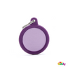 MYFAMILY ID TAG - HUSHTAG COLLECTION - ALUMINIUM PURPLE CIRCLE WITH PURPLE RUBBER