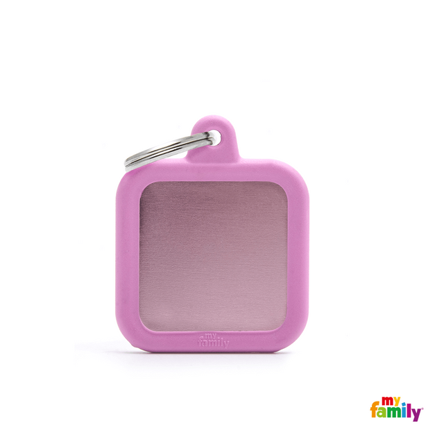 MYFAMILY ID TAG - HUSHTAG COLLECTION - ALUMINIUM PINK SQUARE WITH PINK RUBBER