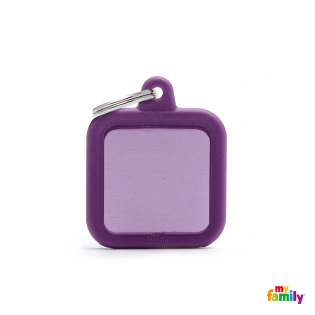 MYFAMILY ID TAG - HUSHTAG COLLECTION - ALUMINIUM PURPLE SQUARE WITH PURPLE RUBBER