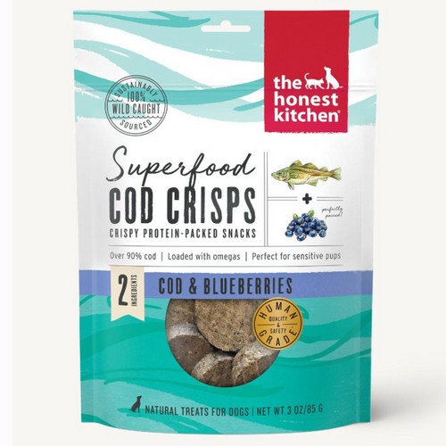 HonestKitchen Dog Superfood Cod Crisps w/ Blueberry- 3 oz