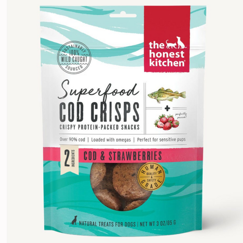 HonestKitchen Dog Superfood Cod Crisps w/ Strawberry-3 oz
