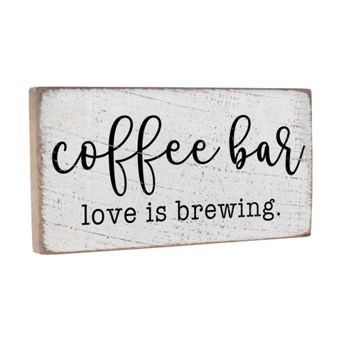 Coffee Bar: Love is Brewing Wall Decor Sign - Seven Anchor Designs
