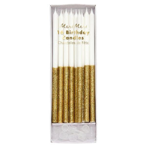 Gold Glitter Dipped Candles - Sweet Layer Cake
