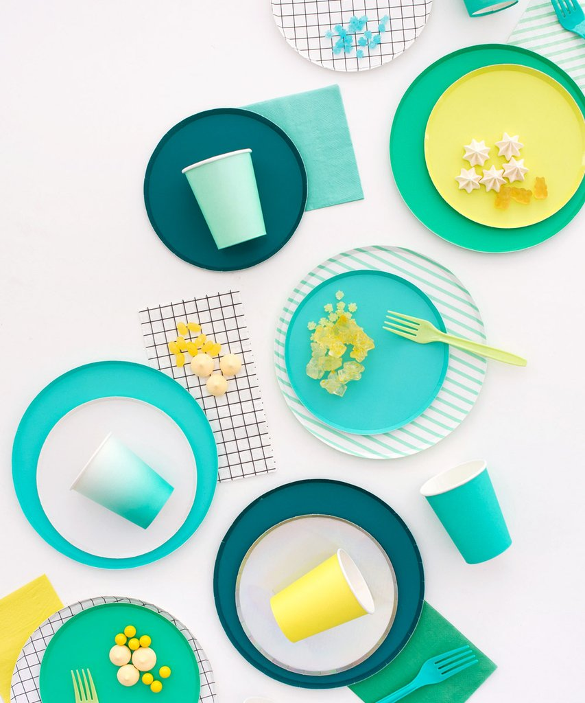 Mint Stripes Plates (Large) - Sweet Layer Cake