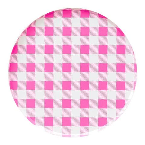 Neon Rose Gingham Plates (Large) - Sweet Layer Cake