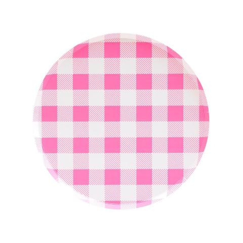Neon Rose Gingham Plates (Small) - Sweet Layer Cake
